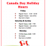 July Long Weekend  – Canada Day