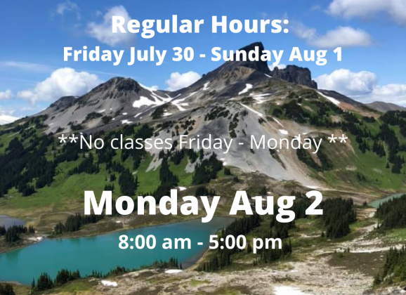 August Canada Civic BC Holiday Clubs Hours